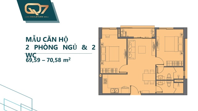 Mẫu 2PN 2WC căn hộ q7 boulevard 71m2
