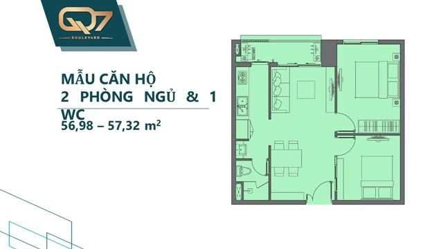 Mẫu 1PN căn hộ q7 boulevard