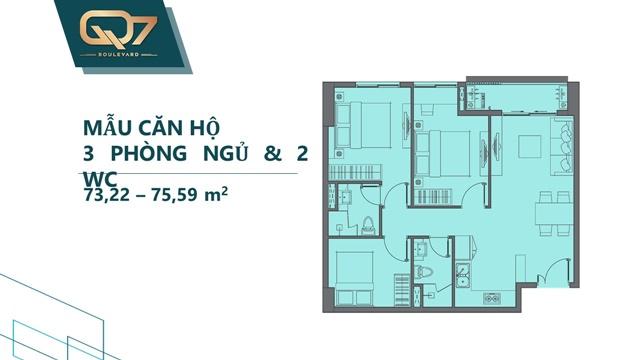Mẫu 3PN 2WC căn hộ q7 boulevard