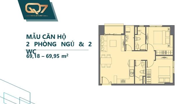 Mẫu 2PN 2WC căn hộ q7 boulevard
