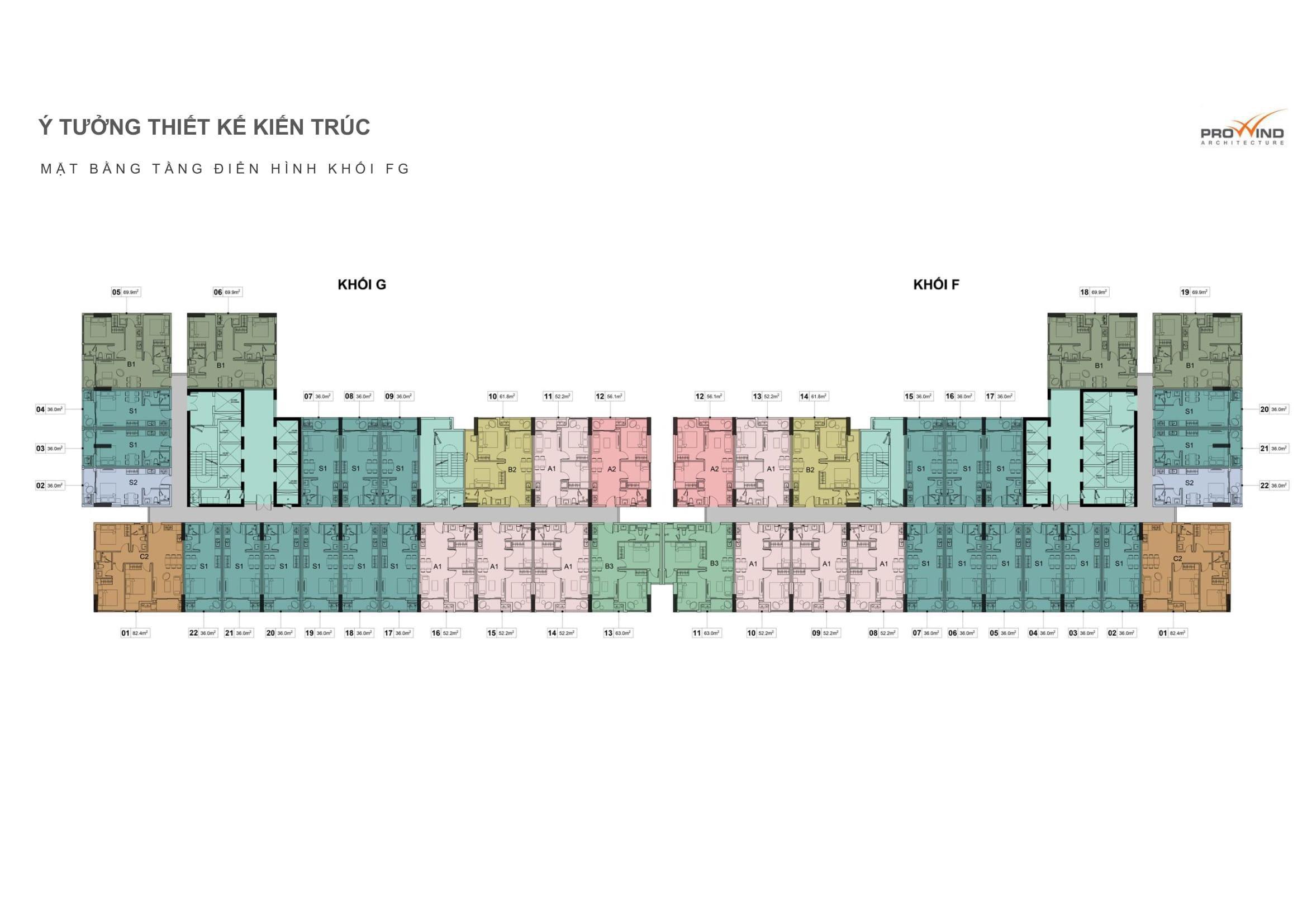 Mặt bằng căn hộ hồ tràm complex khối G và F