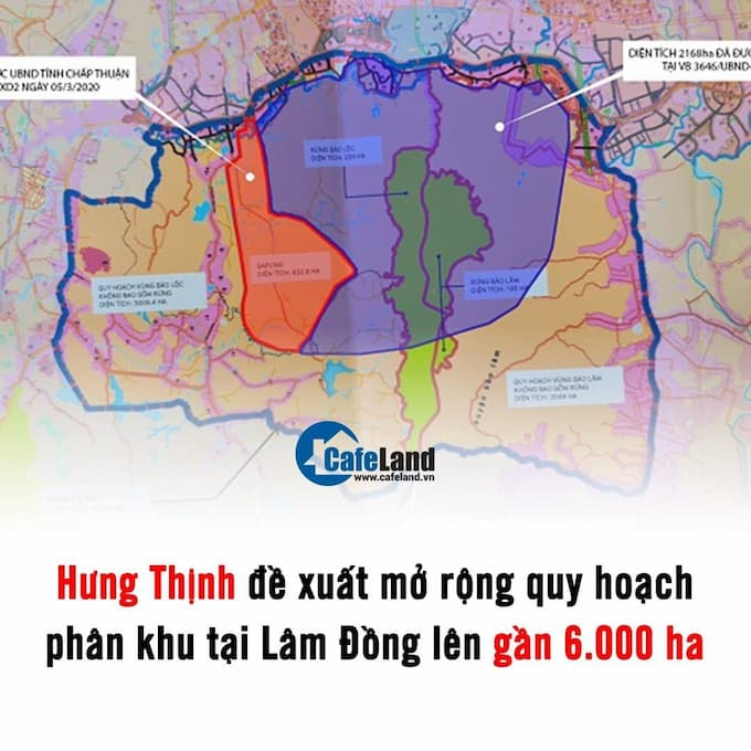 Tập đoàn Hưng Thịnh muốn mở rộng ranh lập quy hoạch phân khu 1/2.000 với quy mô 5.985 ha, trong đó thêm khoảng 3.385 ha dự án Lâm Đồng .